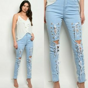Denim - 🆕 Lace Up Front Stretch Skinny Jeans
